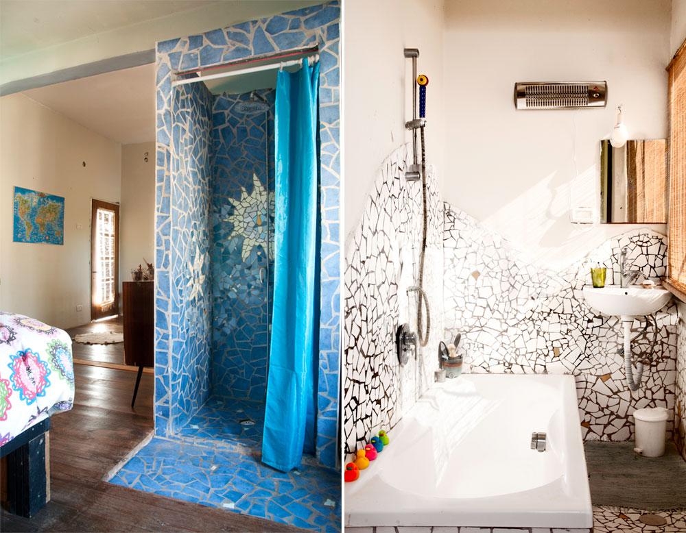 משמאל: המקלחון שמול המיטה. מימין: חדר הרחצה של הבת הפעוטה, שגם הוא חופה שברי קרמיקה - הפעם לבנים, רקע נייטרלי לצעצועיה הצבעוניים (צילום: דורון עובד)
