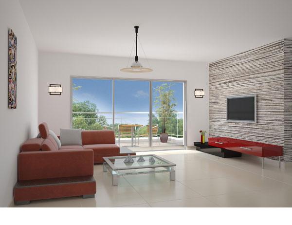 הדמיה של דירה בפרויקט של חברת צרפתי ב''יבנה הירוקה'' (הדמיה: באדיבות רן צרפתי)