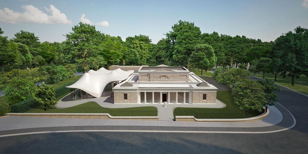 כך תיראה גלריה סרפנטיין אחרי ההרחבה שלה, שמתוכננת בימים אלה במשרדה של זאהה חדיד (שהחלה את מסורת תכנון הביתן לפני 13 שנים) (הדמיה: Courtesy of zaha hadid Architects)
