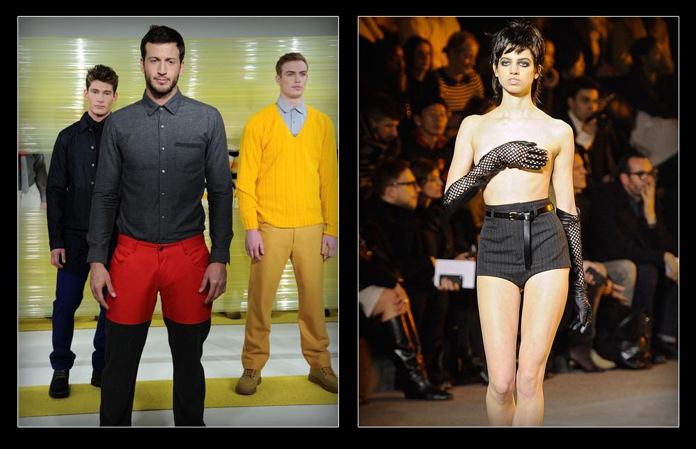 על המסלול בניו יורק: לילי מקמנאמי בתצוגת האופנה של מארק ג'ייקובס (מימין) ומייקל לואיס בפרזנטציה של לוצ'יו קסטרו (צילום: gettyimages)