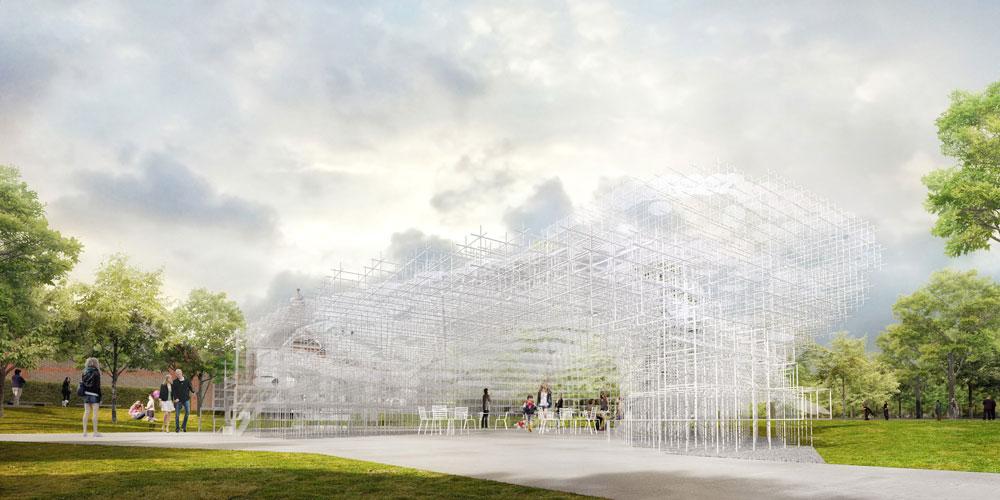 כך ייראה ביתן הקיץ של גלריה סרפנטיין, שנמצא בהייד פארק. הביתן ייפתח לקהל הרחב ביוני, ויינעל באוקטובר (הדמיה: Courtesy of Sou Fujimoto's )