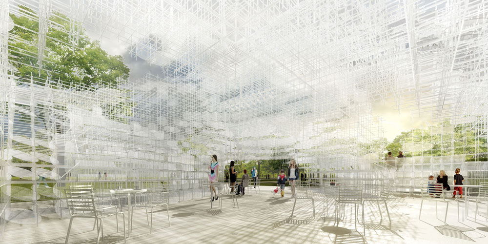 מבנה שמשתרע על פני 350 מ''ר, עם טרסות מדורגות שיאפשרו ישיבה עליהן, וכולו עשוי מוטות פלדה דקים (הדמיה: Courtesy of Sou Fujimoto's )