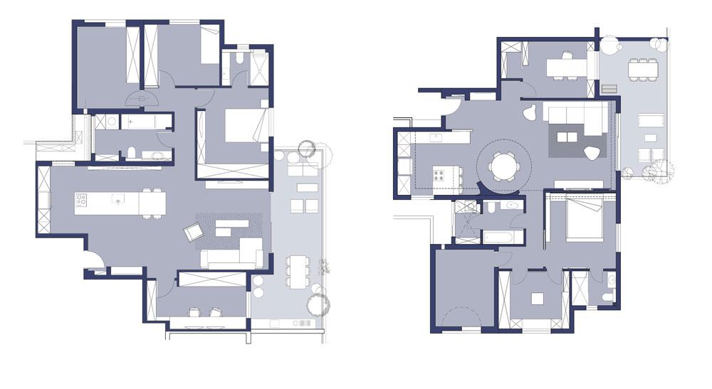 תוכניות השדרוג של שתי הדירות - שזהות בשטחן ובחלוקה הבסיסית שלהן. מימין דירתם של בני הזוג עם התינוק: סגנון אירופי, שני חדרי שינה שהוסבו למשרד וחדר ארונות, ופינת אוכל עגולה במרכז החלל. משמאל דירת הרווק: סגנון מינימליסטי וחלל פתוח וארוך, מהכניסה עד לקיר המרפסת (באדיבות BLV עיצוב פנים ואדריכלות)