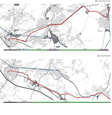 שתי ערי-הקצה של לימבורג והקו שאמור לחבר אותן (באדיבות uapS  Anne Mie Depuydt)