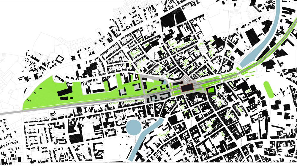 בעיר Roeselare בחלק הפלמי של בלגיה, מתכנן משרדה של דפאוט פיתוח עירוני ונופי סביב תחנת רכבת. ''הנוכחות של פרויקט חדש בתוך ישן לא חייבת להתחקות אחר האלמנטים ההיסטוריים'' (באדיבות uapS  Anne Mie Depuydt)