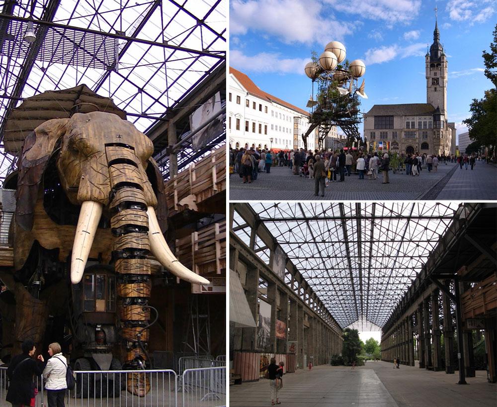 אחת האטרקציות באי של נאנט היא הפרויקט האמנותי Les Machines de L'ille, בהשראת דה וינצ'י וז'ול ורן, עם מכונות ענק  - בכיכובו של הפיל הזה (צילום: Symac, Adam Bishop, M_H.DE, cc)