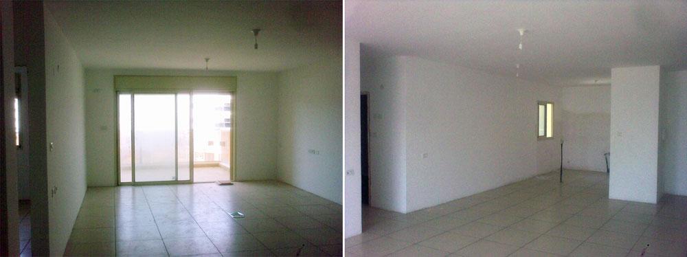 מבט למטבח (מימין) ולסלון (משמאל) -  כך נראתה הדירה כשנמסרה לבני הזוג: רצפה סטנדרטית, קירות ערומים, וחוטי חשמל משתלשלים מהתקרה (באדיבות  BLV עיצוב פנים ואדריכלות)
