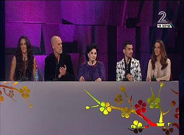 השופטים בטקס: ירדן הראל, ג'ייסון דנינו הולט, מרים נופך-מוזס, מוטי רייף וענת הראל (צילום: ערוץ 2)