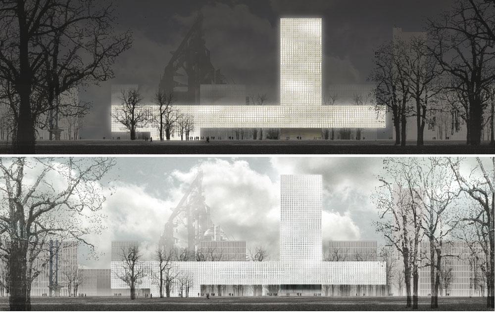 הבניין המרכזי באוניברסיטת בלוואל, לוקסמבורג, אינו משתמש במיזוג אוויר מכני - אלא רק בחלונות ובתריסים (באדיבות Baumschlager Eberle Wien ZT AG)