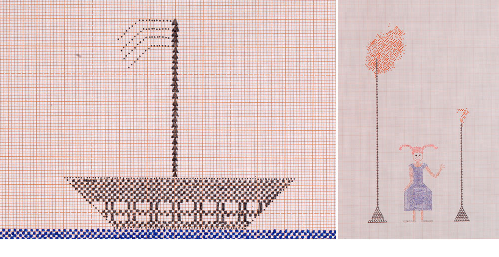 שירה יעקובוביץ חקרה את המקורות התרבותיים של הרשת: בהשראת הרקמה המסורתית השוודית רקמה דוגמאות עדינות ופואטיות לכריות ווילונות (צילום: תמי דהן)