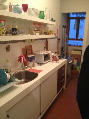 המטבח, לפני. החלל הזה הפך לחדר הרחצה (באדיבות אדריכל רענן שטרן)