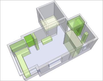 תכנון הארונות כחלק מתכנון הקירות (אדריכלות עיצוב ותכנון: אדריכל רענן שטרן)