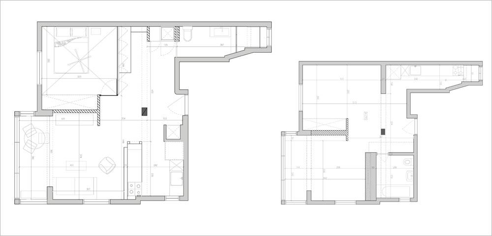 תוכנית הדירה לפני (מימין) ואחרי: המטבח וחדר הרחצה החליפו מקום, נישות גבס וקירות פנימיים הוסרו וחדר השינה הוקטן לטובת פינת עבודה מרווחת (אדריכלות עיצוב ותכנון: אדריכל רענן שטרן)