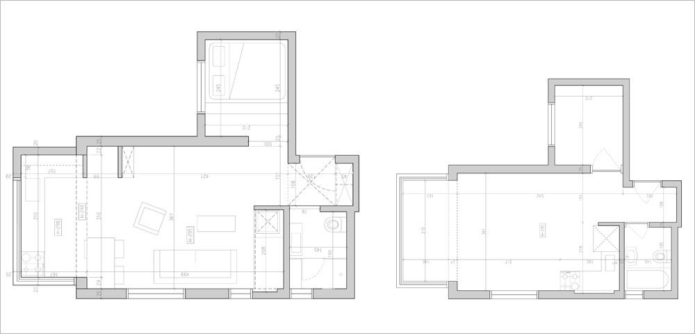 תוכנית הדירה ''לפני'' (מימין) ואחרי: כאן לא נעשו שינויים בקירות. השינוי המהותי היה העברת המטבח מעומק הסלון אל המרפסת הסגורה בצדו השני (אדריכלות עיצוב ותכנון: אדריכל רענן שטרן)