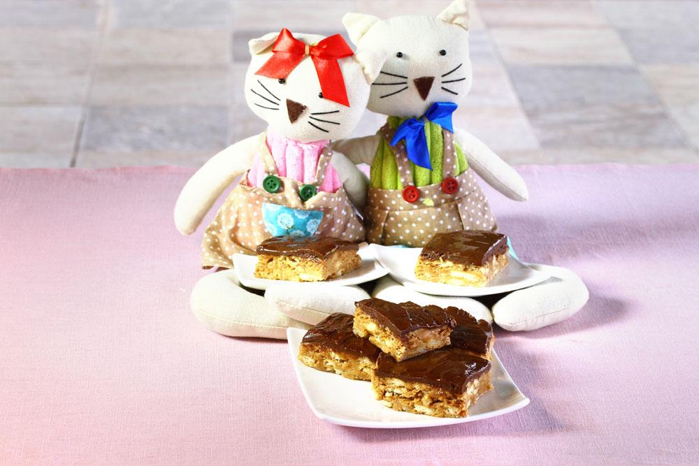 ריבועי חמאת בוטנים ושוקולד ללא אפייה (צילום: אסנת לסטר)