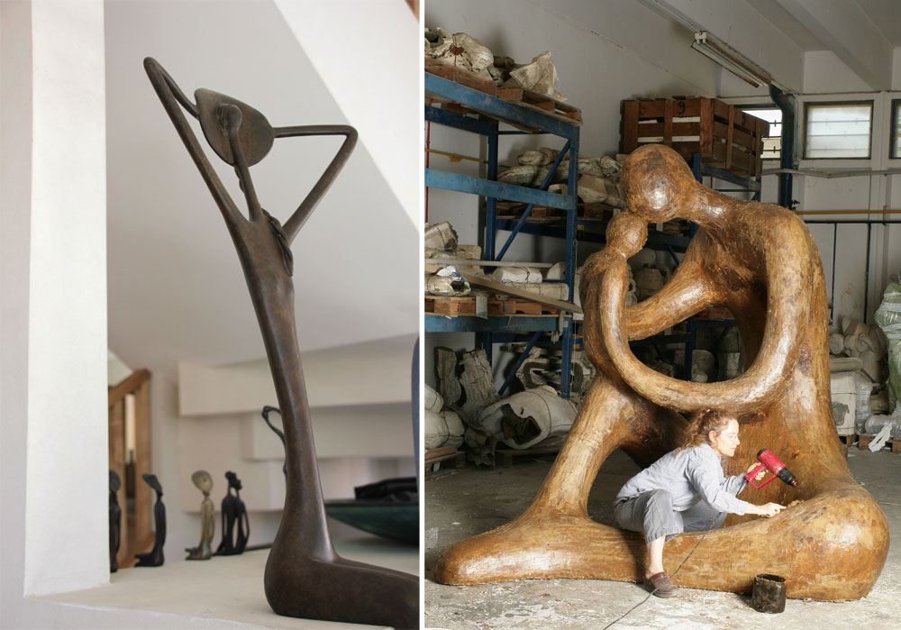 מימין: בלוך עובדת על אחת מיצירותיה הגדולות, שמקשטות מרחבים ציבוריים (למשל, גן הפסלים בבית החולים תל השומר). משמאל: אחת היצירות הקטנות, שמפוזרות ברחבי הבית (צילום: מלכה שמיר)