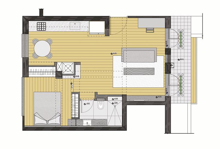 תוכנית הדירה, אחרי: הסלון הועבר לצד המרפסת, המטבח וחדר השינה מוקמו בקווים מקבילים, כך שהבריזה תוכל לעבור דרך הדירה. חדר הרחצה נמצא בפינת הסלון, בקרבת חדר השינה, ואין מטר מרובע אחד ''מבוזבז'' על מסדרון או אזור שירות (תכנית: אדריכל עמיחי שרון)