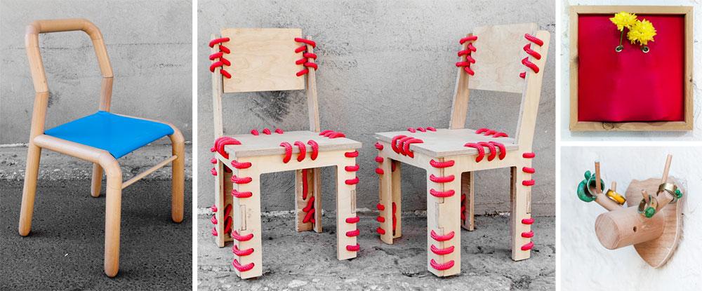 למעלה מימין עציץ קיר של ''Studio BakBuk'' (אלכס חייקין ותמי קלינסקי), למטה מימין מתלה עץ של תום בנדקובסקי, במרכז כסאות תפורים של אלכס חייקין ומשמאל כיסא של בנדקובסקי (צילום: ענבל מרמרי)