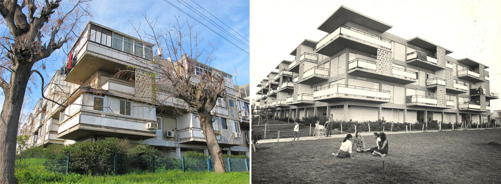 בניין המרפסות הקופצות הראשון בישראל היה אף הוא מחשבה של זולוטוב, והוא הוקם באשקלון. ההזנחה ניכרת משמאל (באדיבות נחום זולוטוב)