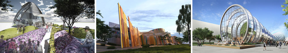 הצעות נוספות בתחרות שלא זכו (מימין לשמאל):  ''צינורות ההשקיה'' של גאוטקטורה, החללים העגולים הצבעוניים של בריז ואמיר זהבי, ועונות השנה של לוטן אדריכלים