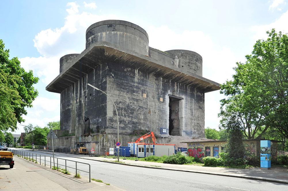 הקמת הבונקרים נחשבת לאחד ההישגים ההנדסיים של הנאצים. בונקרים כאלה נבנו בערים נוספות, בהן וינה וברלין (צילום:  IBA Hamburg GmbH / Martin Kunze)