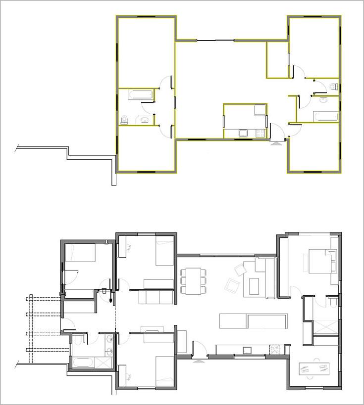 תוכנית הבית ''לפני'' (למעלה) ואחרי. קווי המתאר החיצוניים לא השתנו: 23 מ''ר נוספו מצד אחד שלו, וכל הקירות הפנימיים נהרסו לטובת חלוקה משופרת של החללים. הסלון והמטבח במרכז, מצד אחד חדר ההורים וחדר עבודה ביתי ומהצד השני חדרי הילדים (תכנית: אדריכלית מיה ארדל מאיק)