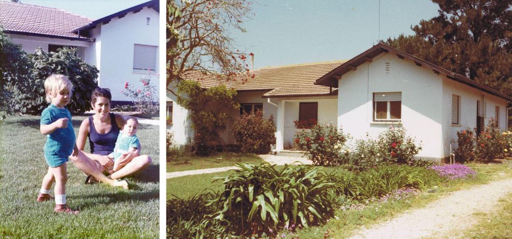 תמונות ילדות: מימין הבית לפני השיפוץ. משמאל אמו של גלעד מאיק, מחזיקה אותו בזרועותיה, ואחותו הגדולה (צילום: באדיבות משפחת מאיק)