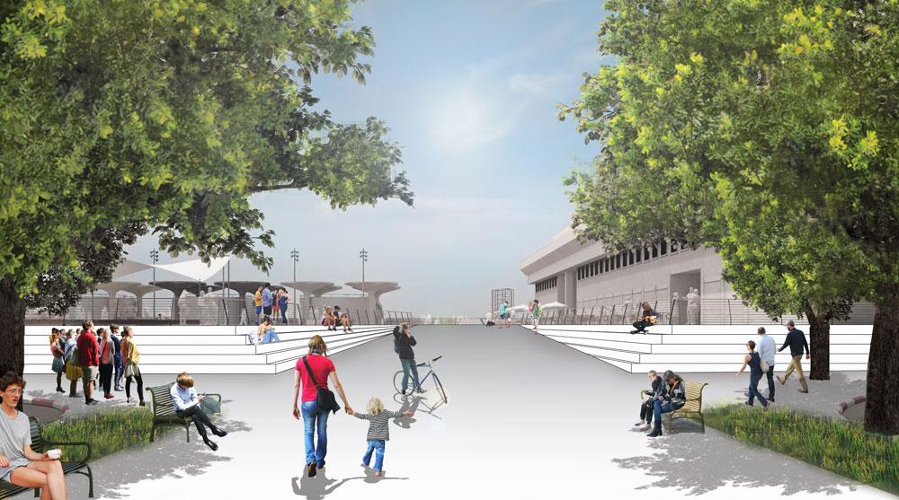 תוכנית ההריסה עוקפת את התוכנית הקיימת שהעירייה מקדמת בשנים האחרונות, באמצעות משרד מוריה-סקלי, לשיפוץ הכיכר ולשיפור המעבר משדרות בן גוריון לים (הדמיה: מוריה סקלי. סטודיו נוף ואדריכלות )