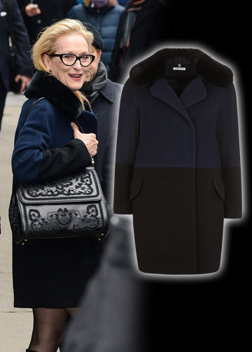 נראה שחמים ונעים למריל סטריפ במעיל השחור–כחול הזה של המותג הצרפתי פולקה למילוס (2,000 שקל) (צילום: splashnews/asap creative)
