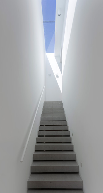 המדרגות לקומת חדרי השינה מוארות באמצעות סקיי-לייט בגג (צילום: שי אפשטיין)