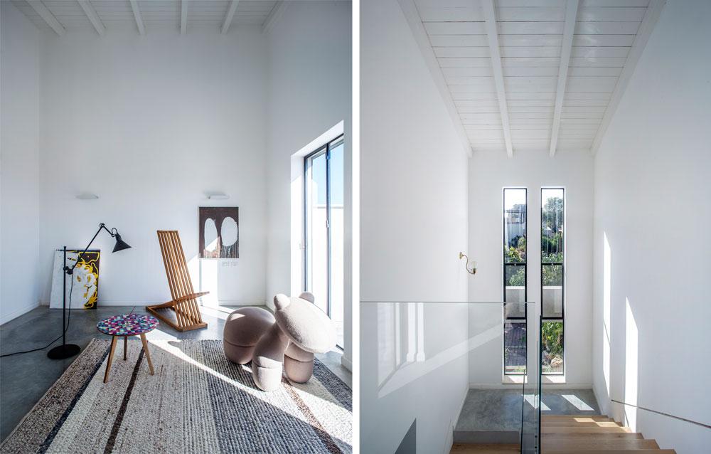 מימין: מבט למדרגות מכיוון אזור המשחקים הפתוח בקומה העליונה. גם כאן תוכננו החלונות מחדש, כשני קווים מקבילים. משמאל: פינת המשחקים עדיין ריקה, וסוגננה לצורך הצילומים (צילום: יואב גורין)