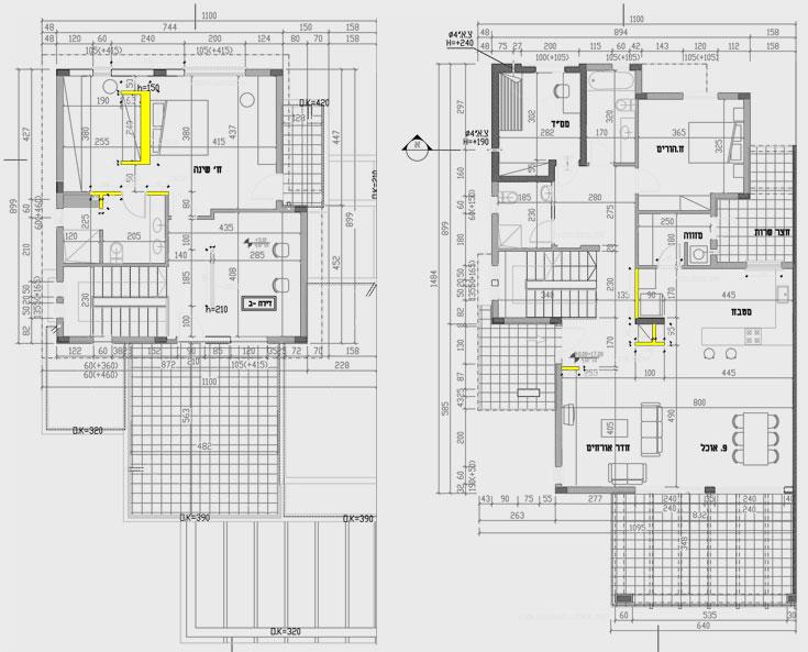 תוכניות הבית המקוריות. הנקין ושביט ביטלו רק מעט קירות (מסומנים בצהוב): בחלל הסלון והמטבח (מימין) השאירו עמוד תומך וניקו מסביבו את הקירות הקטנים. בקומה העליונה (משמאל) הנמיכו את הקיר שהפריד בין המיטה לאזור הארונות