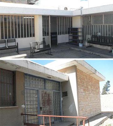 החצר הפנימית והכניסה לבית הדין הרבני באשקלון לפני השיפוץ (צילום: יפתח הררי אדריכלים – ייעוץ בנייה ירוקה)