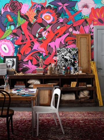 גרפיטי בתוך הבית (צילום: מעודד צבעים)