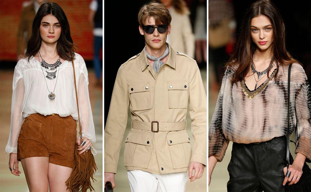 תצוגת אביב-קיץ 2015 של מנגו. בגדים לנשים שמחפשות שמלת מקסי מתנפנפת, ז'קט זמש עם פרנזים, חצאיות קצרות או פריטי ג'ינס מעוצבים, ולגברים שמעדיפים מראה אירופאי קליל אך מוקפד