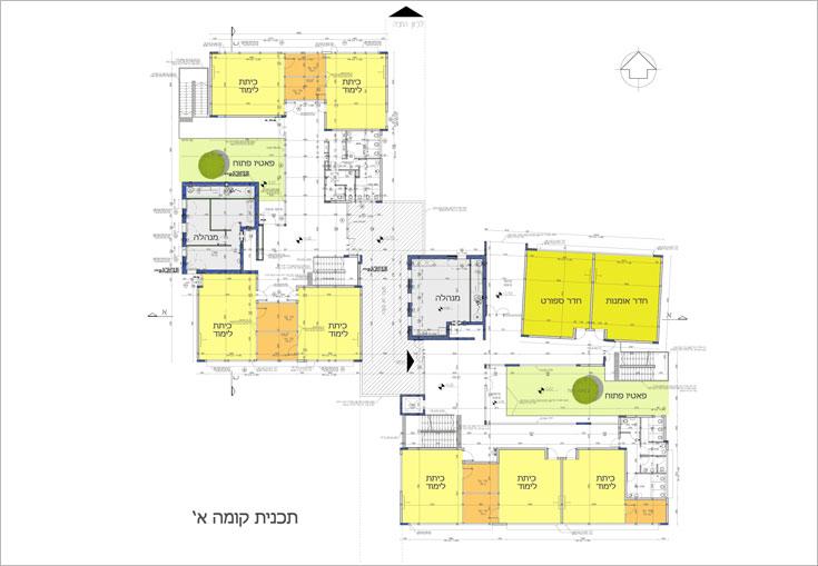 תוכנית הקומות הראשונות של שני הבניינים (תוכנית: שושני אדריכלים)