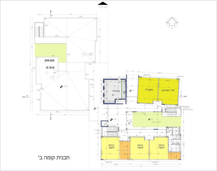 תוכנית הקומה השנייה של הבניין החדש. שני הבניינים יחוברו במעבר שיותקן בקומה השנייה של האגף הקיים: הגג שלו יהפוך למרפסת, שתהיה יציאה אליה מהבניין השני (תוכנית: שושני אדריכלים)