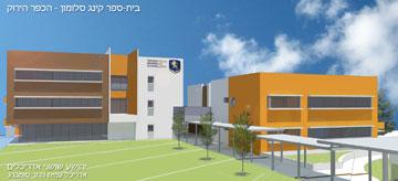 הדמיה של בנייני בית הספר. הימני כבר נחנך, השני בבנייה (הדמיה: שושני אדריכלים)