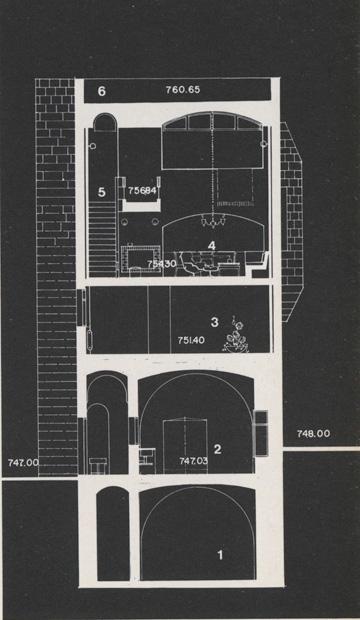 חתך של הבית. ניתן לראות את הקמין והמנורה שבתמונות למעלה (צילום: אליעזר פרנקל, אוסף אליעזר פרנקל, ארכיון אדריכלות ישראל)