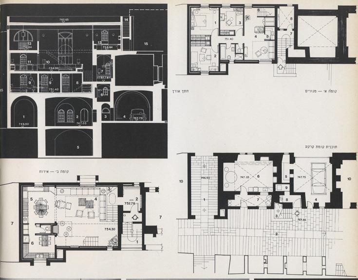 """תוכניות מקוריות וחתך של בית יגאל אלון. בבניין יש ארבע קומות, ושטחו הכולל הוא כ-313 מ""""ר (צילום: אליעזר פרנקל, אוסף אליעזר פרנקל, ארכיון אדריכלות ישראל)"""
