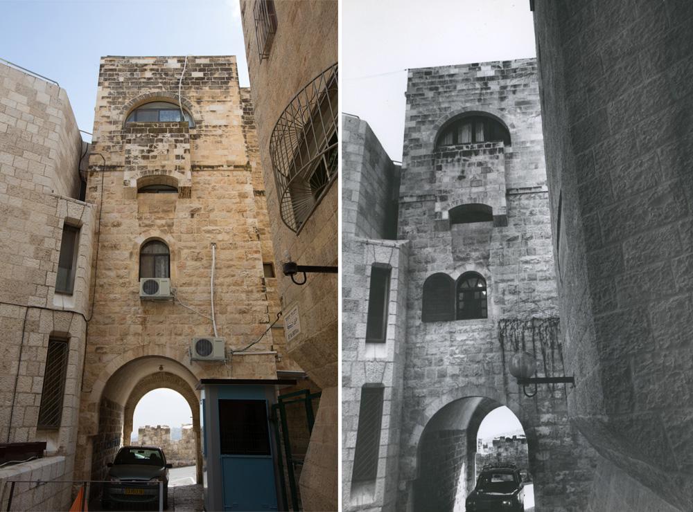 החזית הצפונית, אז (מימין) והיום (משמאל) (צילום: דור נבו, אליעזר פרנקל, אוסף אליעזר פרנקל, ארכיון אדריכלות ישראל)