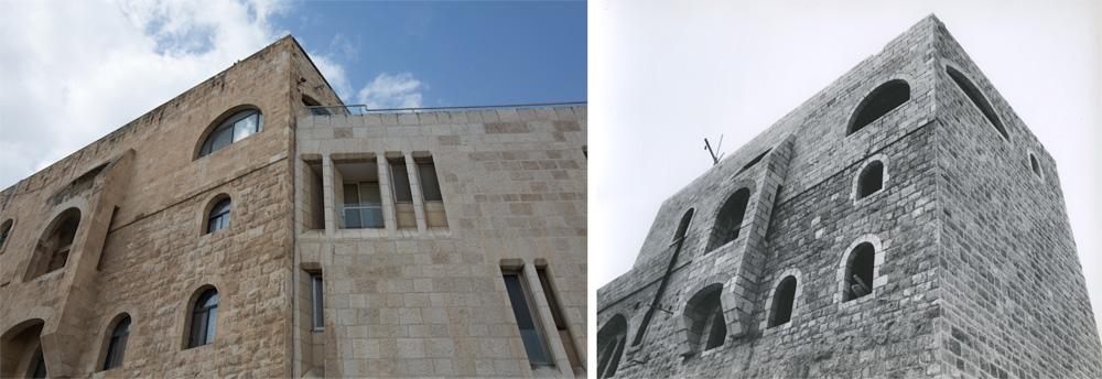 אותה חזית, אז (מימין) והיום (משמאל). אין שינויים (צילום: דור נבו, אליעזר פרנקל, אוסף אליעזר פרנקל, ארכיון אדריכלות ישראל)