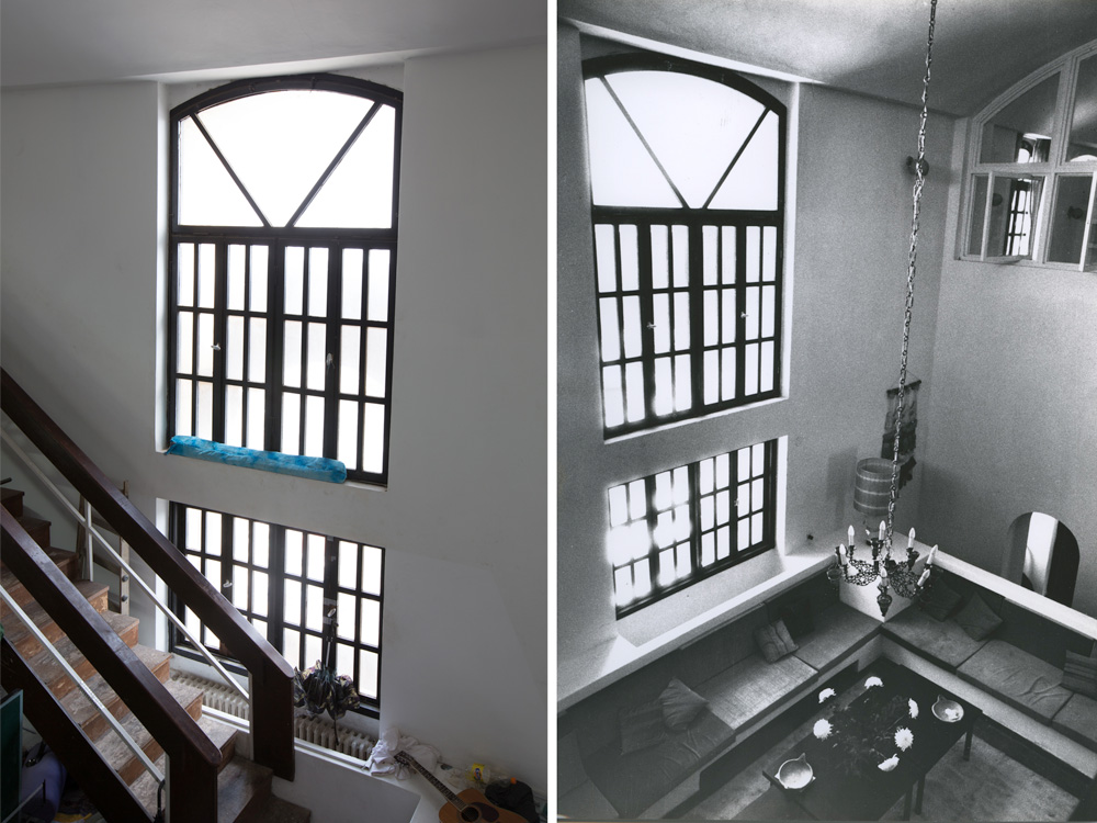 אותו חלל, אז (מימין) והיום (משמאל). המנורה המפוארת כבר לא שם (צילום: דור נבו, אליעזר פרנקל, אוסף אליעזר פרנקל, ארכיון אדריכלות ישראל)