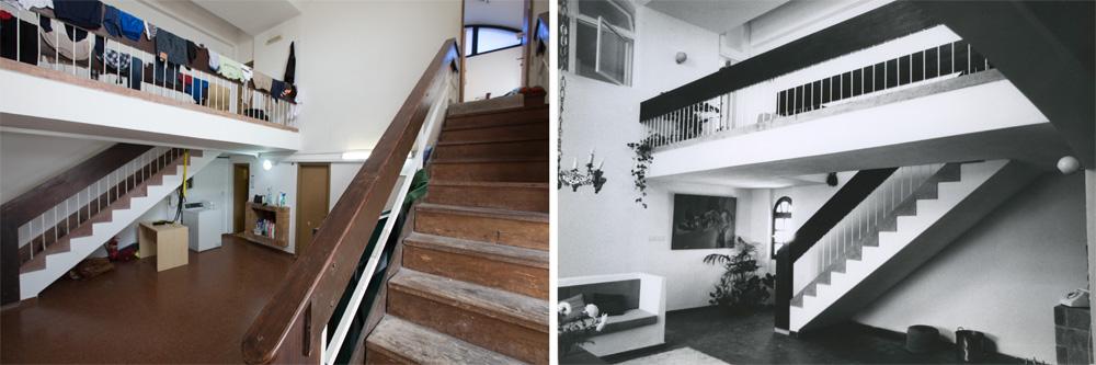 אותו חלל, אז (מימין) והיום (משמאל). גרם מדרגות שני הוקם בשיפוץ האחרון (צילום: דור נבו, אליעזר פרנקל, אוסף אליעזר פרנקל, ארכיון אדריכלות ישראל)