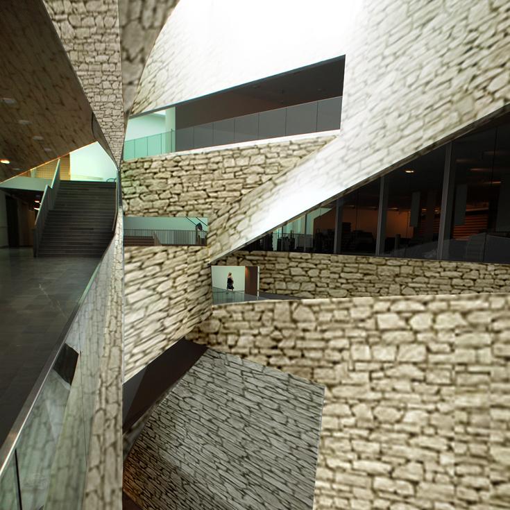 כפיר וקס מסתייג מהווירטואוזיות החלולה של מוזיאון ת''א החדש, ומחזיר את המבנה לתקופת האבן עם חומר מקומי (צילום: אמית הרמן עיבוד: כפיר וקס)