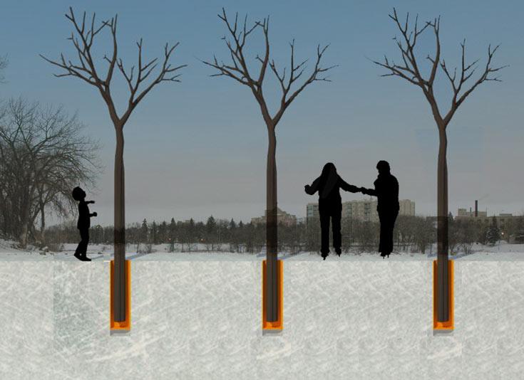 כך זה נעשה: הדמיה המציגה חתך של הטיובות  הנושאות את גזעי העצים  (צילום: טלמון בירן, סטודיו לאדריכלות)
