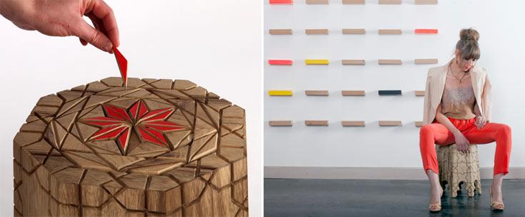 שרפרף עץ של מיכאל צינבוסקי, בוגר בצלאל מהקיץ האחרון (14 אלף שקלים). יש גם גרסאות מפח ומפורמייקה (צילום: דן בלילטי, מיכאל צינבוסקי)