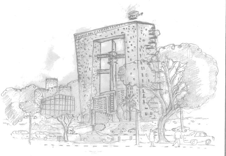 האדריכל ואמן הגרפיטי עדי סנד רשם את התחפושת של מגדל הקריה. השפיץ הביטחוניסטי המזדקר עובר ריכוך ונעטף במבנה חריג (צילום: sened adi)