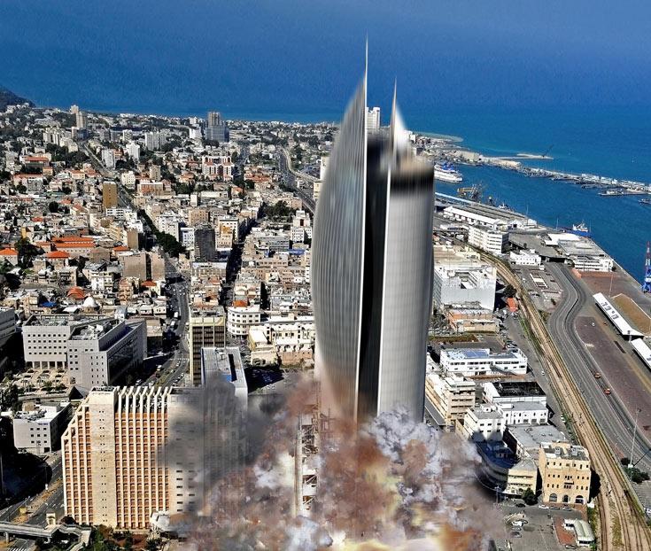 סוג של תחפושת לקרית הממשלה בחיפה: אם זה נראה כמו טיל - צריך לשגר אותו לחלל (צילום: Zvi Roger, הדמיה: לירן צ'צ'יק וניצן קלוש- KCH)
