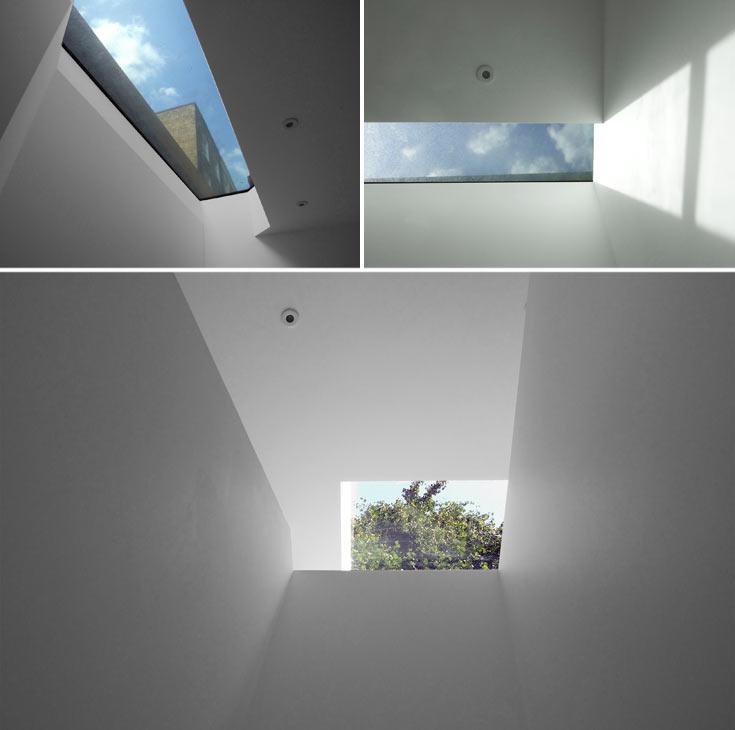 כדי להכניס אור-יום לדירה המחופרת, חרג האדריכל מקו הבנייה הישן. חלונות התקרה יכולים לשאת אדם, ולכן אפשר ללכת עליהם למעלה (צילום: Jack Woolley)